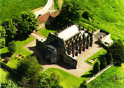 Rosslyn Chapel aerial view